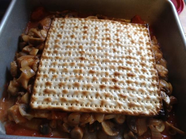 Mushroom matzoh lasagna 4