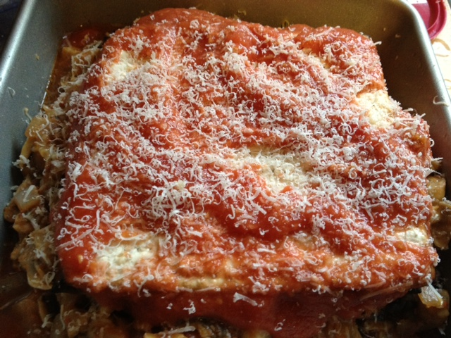 Mushroom matzoh lasagna 6