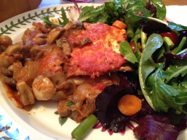 Mushroom matzoh lasagna 9