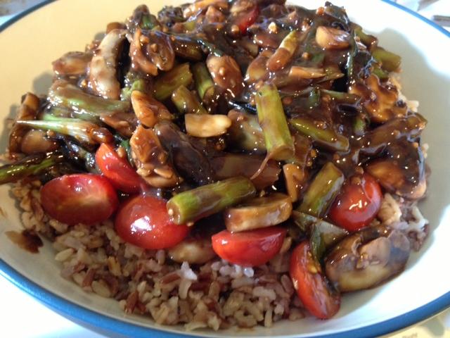 Asparagus, Mushroom and Tomato Stir Fry