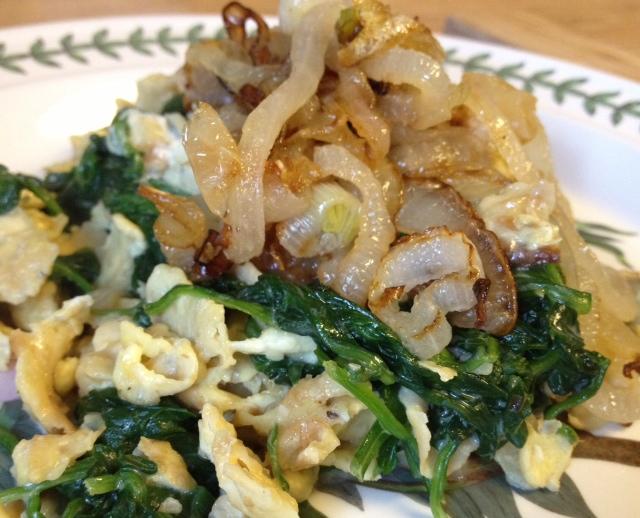 Creamed Spinach Matzoh Brei!