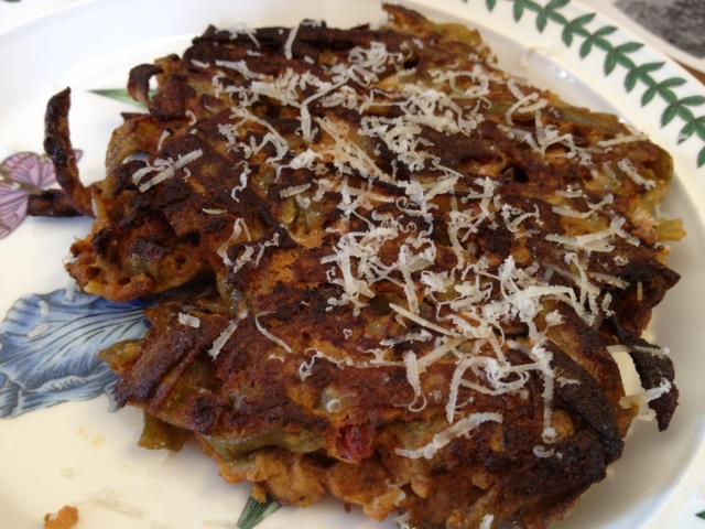 Mario Batali S Pasta Pancakes Aka A Great Way To Use Leftover Pasta Andrea S Garden Cooking