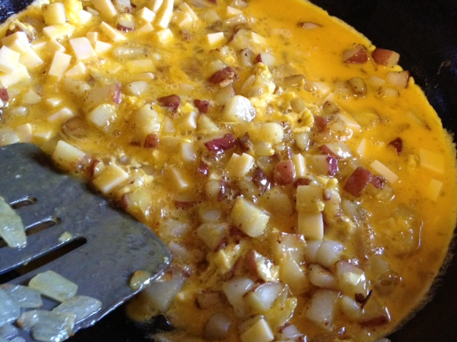 potato & cheese scrambled omelet4