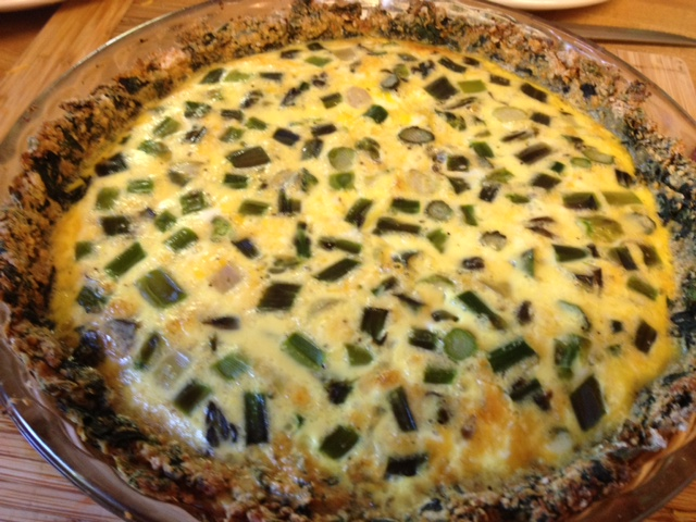 asparagus quiche with spinach crust 8