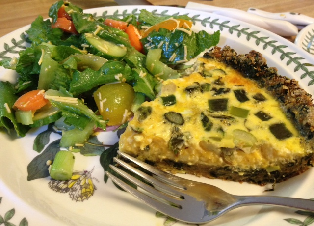 asparagus quiche with spinach crust 9