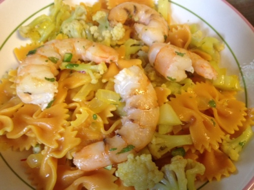 saffron cauliflower and shrimp pasta