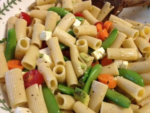 Snap Pea, Carrot, Avocado, Tomato & Feta Pasta 4