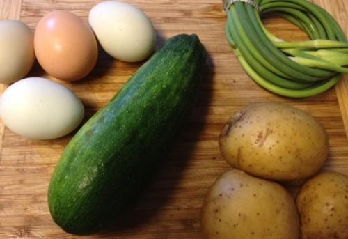 Potato Zucchini Garlic Scape Frittata 1